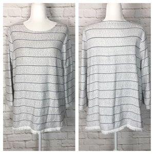 Talbots | Striped Fringe Sweater White/Navy